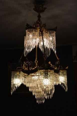 Lustre de cristal decorado com bronze-grande 16 lâmpadas