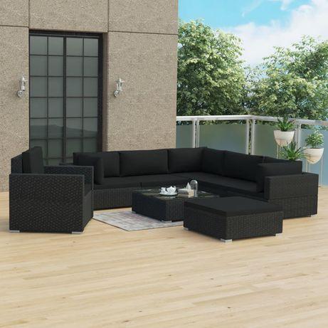 vidaXL 8 pcs conjunto lounge de jardim c/ almofadões vime PE preto 46768