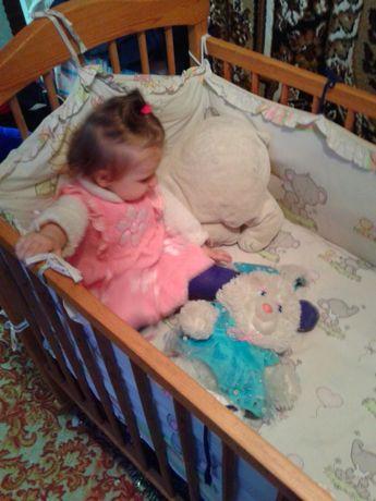 Детская кроватка-качалка кокосовым матрасом и балдахином