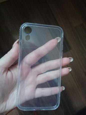 Чехол на iPhone XR прозрачный со стразами