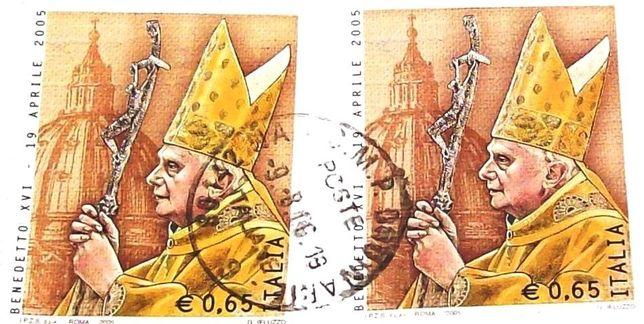 Марка из Ватикана – Папа Римский Бенедикт 16 ( Йозеф Ратцингер).