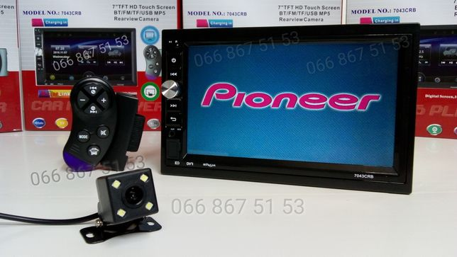 Магнитола 2din Pioneer + камера заднего вида/пульт на руль/Bluetooth