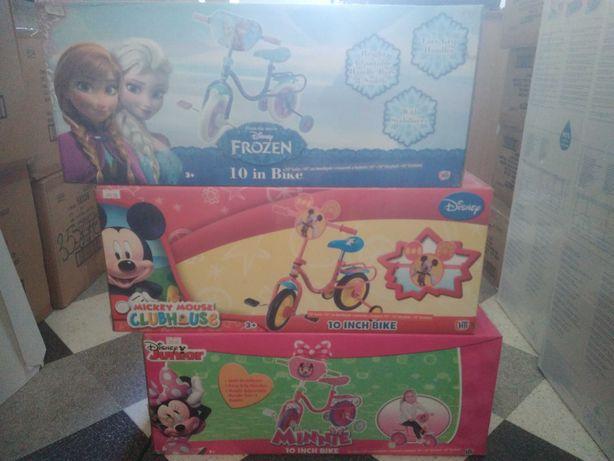 """Rowerek 10"""" z kółkami Disney: Frozen, Mickey Mouse, Minnie. Nowy"""