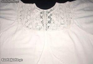 Vestido maxi com aplique em renda cor branco tamanho M