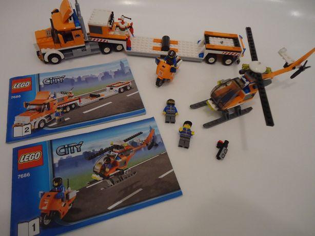 lego city 7686 tir ciężarówka transporter laweta helikopter motor
