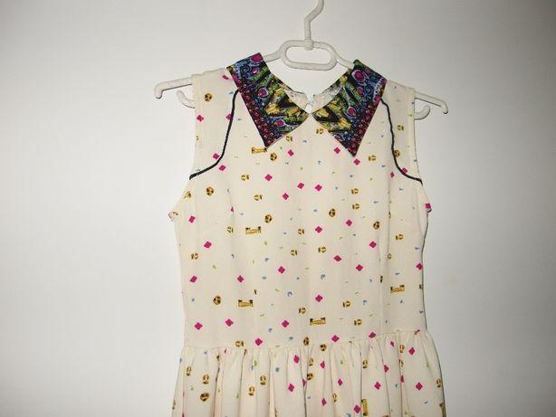 Wizytowa sukienka damska koktajlowa rozkloszowana zara etniczna 36 S