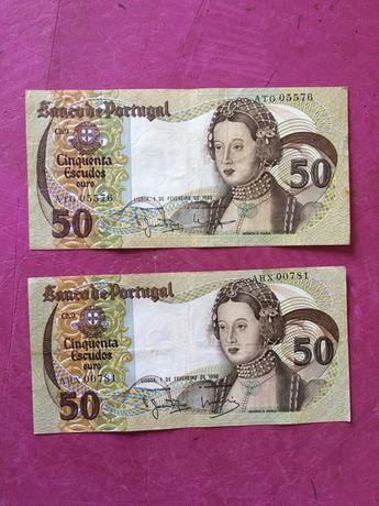 Nota cinquenta escudos 1980 (ouro) numeraçao baixa