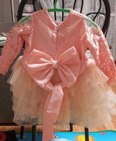 Платье на годик розовое