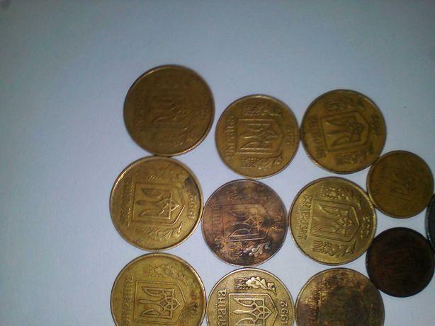 Монети украини  копеяк 1992 года 50-3шт.  25-6шт.  10-2шт.  5-1шт