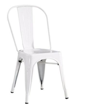 Białe metalowe krzesła cztery sztuki do salonu jadalni i na taras