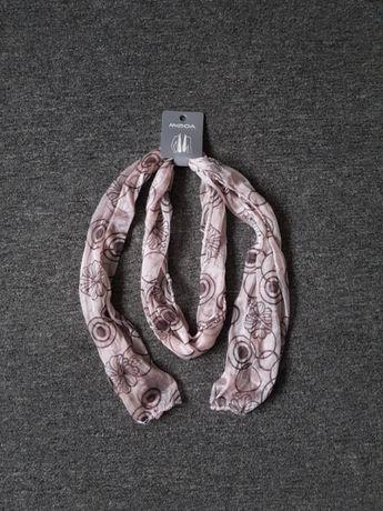 NOWA chustka chusta apaszka szal szalik różowa pudrowy róż wzór koła