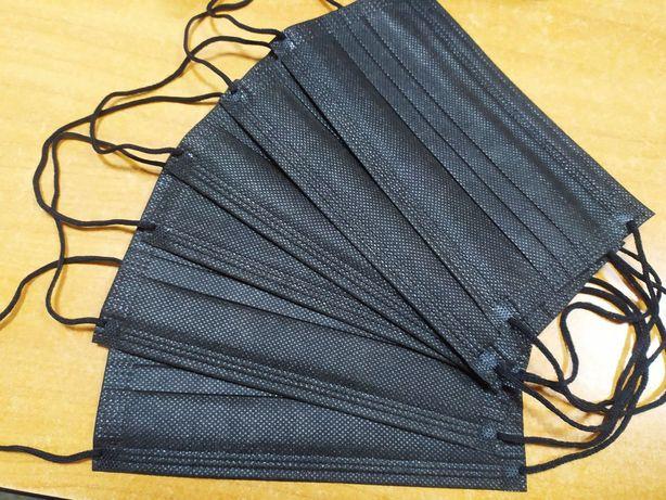 Защитные Черные Чорні маски. Мягкие резинки, фиксатор. Коробка 50шт