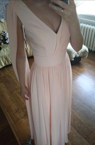 Suknia Parisse S pudrowy róż szal+broszka woal 420zl studniówka wesele