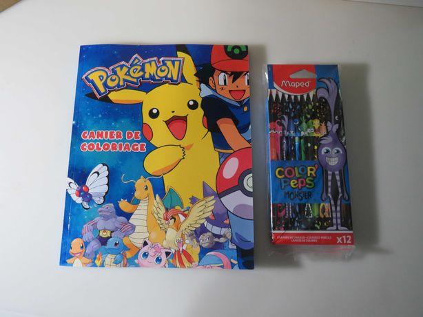 Livro Pokemon para pintar mais oferta de caixa de lapis Novo e Selado