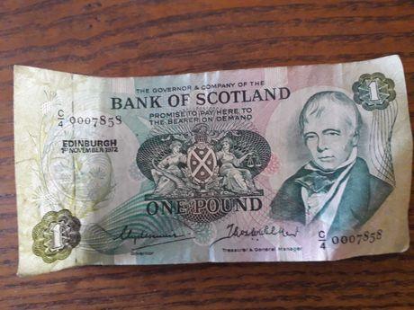 Nota One Pound Bank of Scotland 1972