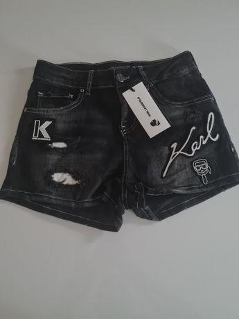 Damskie spodenki jeansowe dzinsy spodnie Karl Lagerfeld