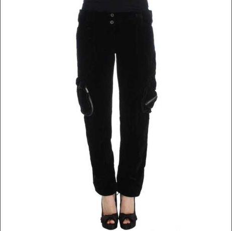 Ermanno Scervino Черные бархатные брюки-карго