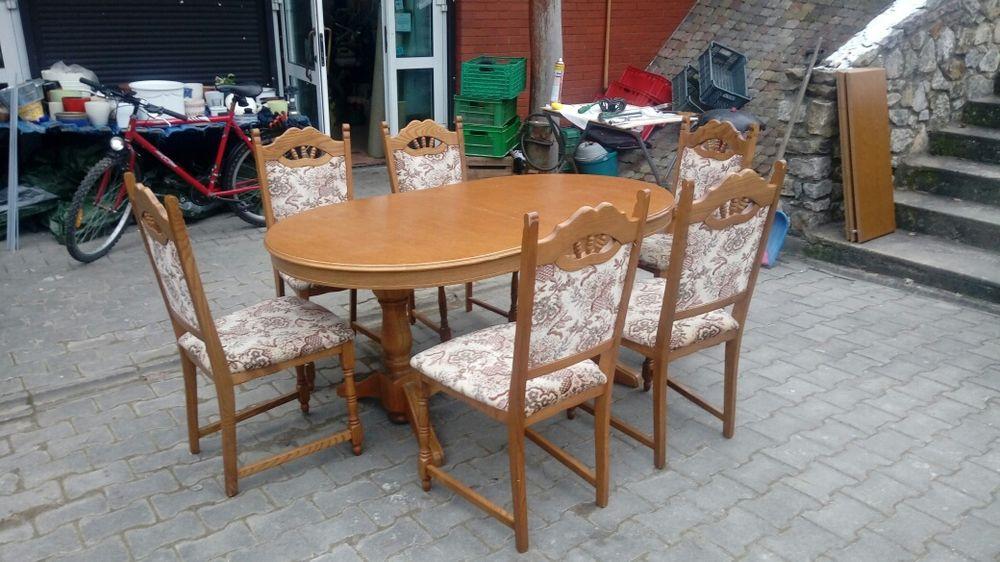 Sprzedam debowy zestaw Stol plus 6 krzesel Wrzosy - image 1