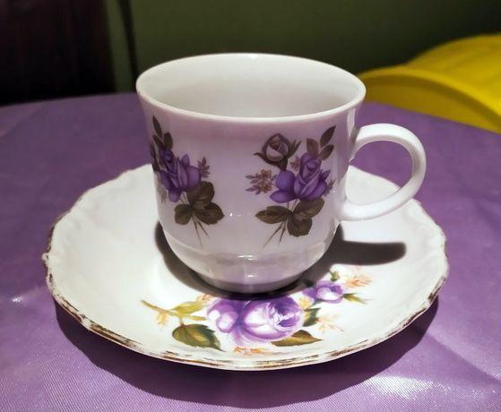 Filiżanka porcelana Tirschenreuth fioletowa róża Niemcy