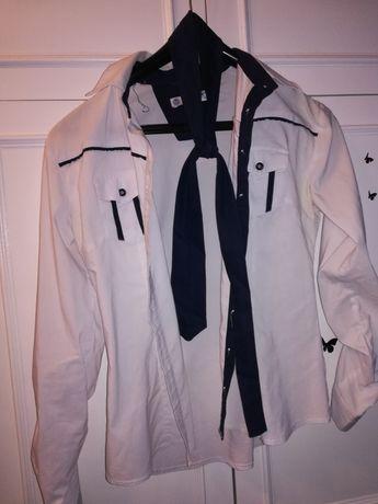 Biała koszula damska z krawatem rozmiar M