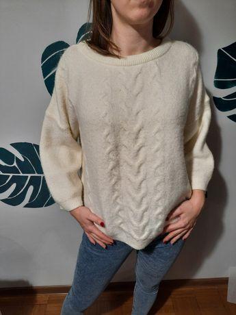 Biały/kremowy sweter rekaw 3/4 zimowy miękki 16 XL