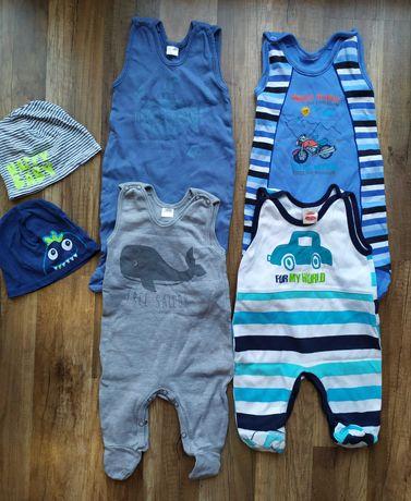Zestaw 4 śpioszków niemowlęcych r. 62 + 2 czapeczki