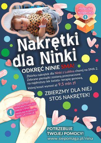 Zbieramy nakrętki dla chorej Niny
