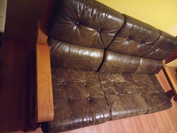 Sofa fotele dębowe skora