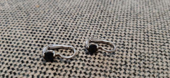 Kolczyki srebrne srebro próba 925 czarne oczko angielskie zapięcie