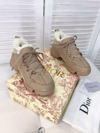 Зимние шикарные кроссовки Dior d-connect Beige Fur premium Мех Диор