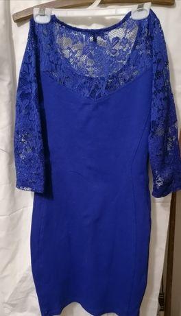 Нарядное платье трикотаж(в идеальном сост)гипюр верх и рукав