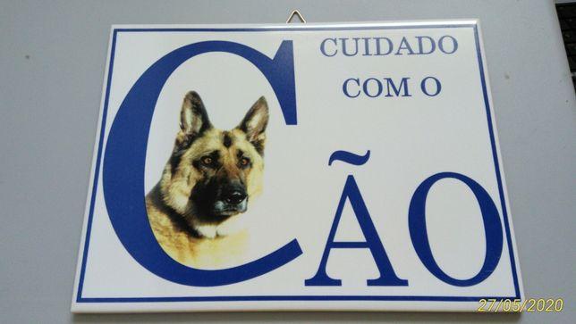 NOVO Azulejo Cuidado com o Cão 20 X 15 CM - Placa Aviso Pastor Alemão