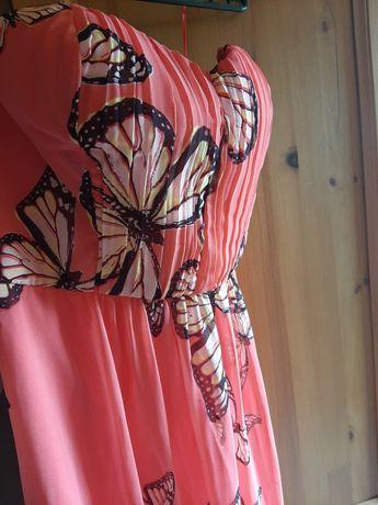 Sukienka na wesele koralowa w motyle, rozm. 38