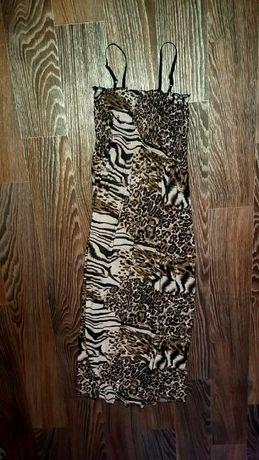 Летнее платье, сарафан с оригинальным принтом шкур животных,