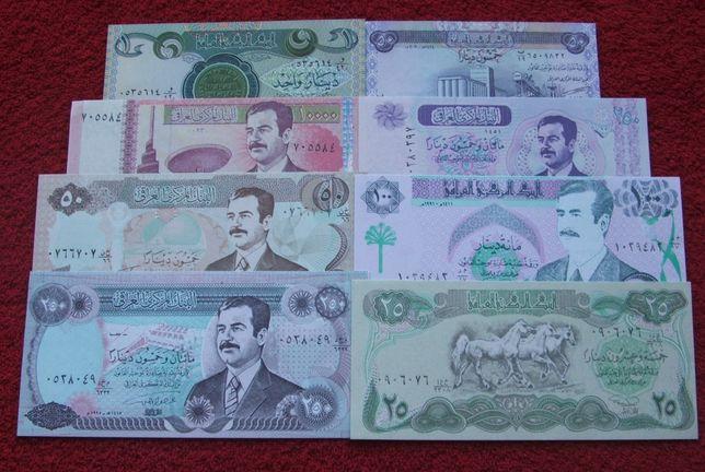 IRAK SADDAM HUSAJN Kolekcjonerskie Banknoty - 8 sztuk UNC