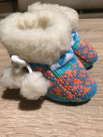 Детские пинетки сапожки домашние на овчине 11 см