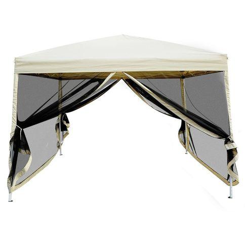 Namiot pawilon ogrodowy 3m x 3m stalowy kawa z mlekiem moskitiery