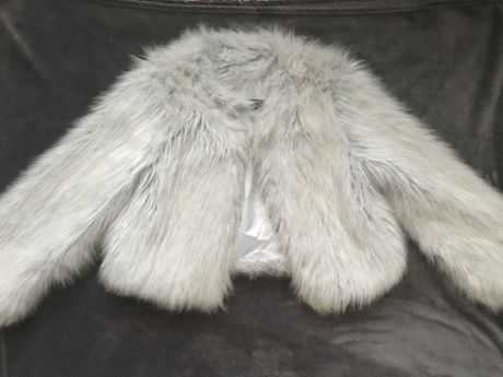 Шуба, полушубок Zara, eко мех, новая, цвет тифани, размер 40