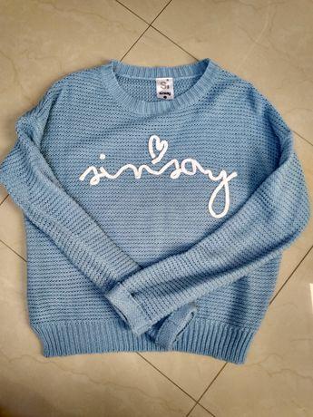 Sweter ciepły bluzka błękitna sinsay