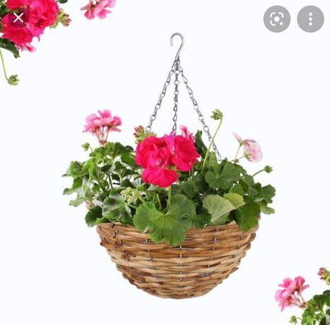 Koszyk na kwiaty wiszący | OGRÓD | ozdoba | wiklina | hak |