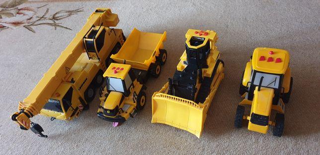Zestawie wywrotka,buldzer,dźwig i traktor.