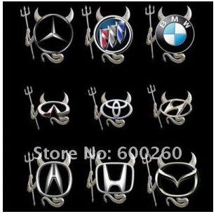 hit !! Naklejka diabeł demon na logo auta samochodu