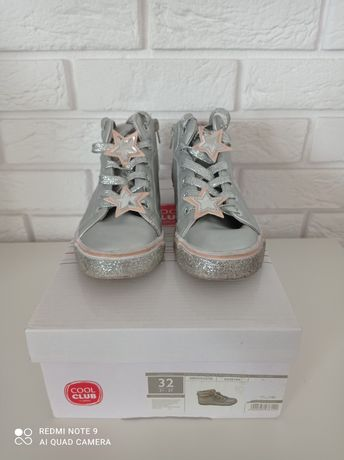Trzewiki buty dla dziewczynki r.32 Cool club srebrne