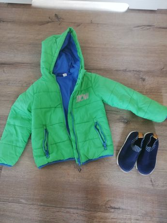 Zestaw wiosenny kurtka na podszewce z kapturem +buty