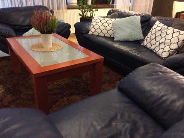 Sofa fotele skóra Kler granatowe