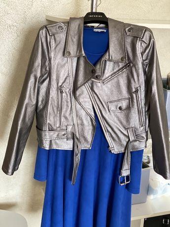 Жіноча стильна куртка-косуха розмір хс-с сіра