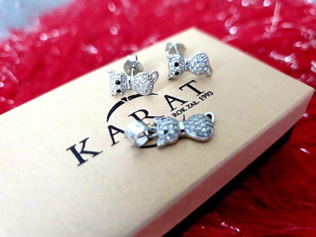Nowy srebrny komplet kolczyki KOTKI kryształki swavorski 925 kotki