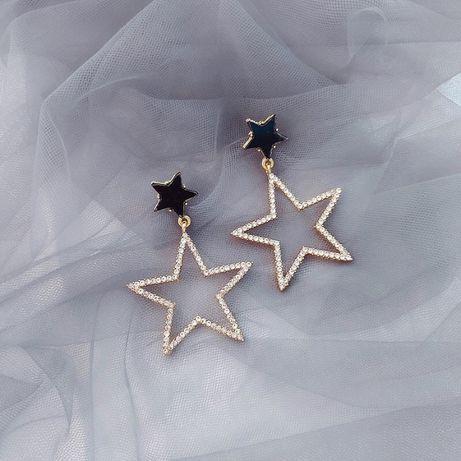 Kolczyki wiszące Stars gwiazdki cyrkonie gwiazdka