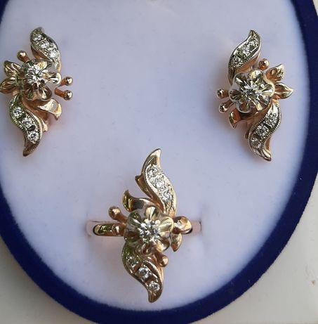 Бриллианты золото набор золотой женский серги кольцо