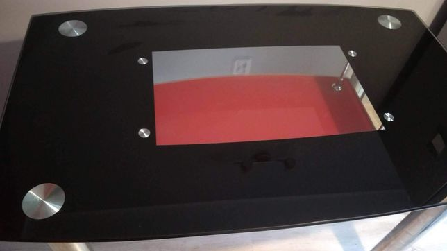 Stół szklany czarny z półką
